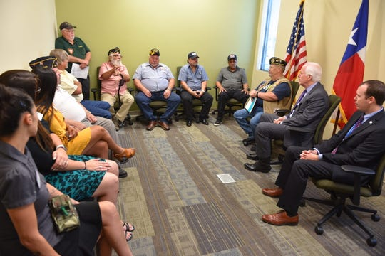 From right: West Texas Veterans Administration Interim Director Jason Cave joined US Sen. John Cornyn in San Angelo on Tuesday, Aug. 20, 2019, where where they spoke with local veterans about their concerns before grand opening ceremonies were held for the new Veterans Administration Community Based Outpatient Clinic at 4240 Southwest Blvd. The clinic serves veterans from several counties.