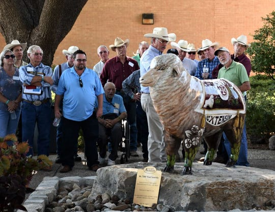 AgriLife Research director Dr. John Walker at the unveiling of the newest San Angelo sheep statue at the Texas A&M AgriLife Research and Extension Center in San Angelo.