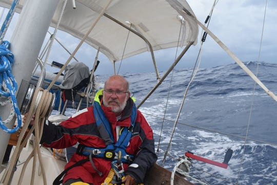 Michael Gould on a 2018 voyage aboard the Goulds' sailboat, Neverland.