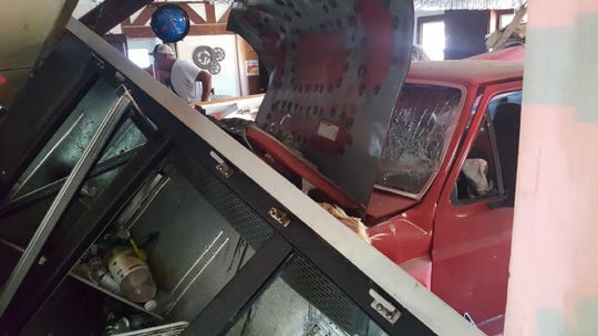 The wall of Boonies Restaurant in Tyaskin sustained extensive damage after a vehicle crashed into the bar Wednesday afternoon.