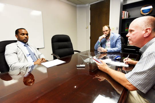 The Times executive editor Scott Ferrell, right, sat down with Shreveport Mayor Adrian Perkins, left, and director of communications Benjamin Riggs Tuesday afternoon.