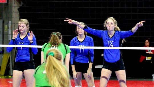 Elk Point-Jefferson's Maddie Hammitt (1),  Riley Donnelly (11) and Carlie Corder (16).