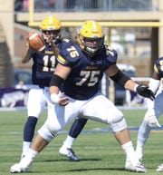 Jake Lacina (75) enters his fourth year as Augustana's starting center