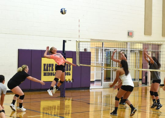 Because of ongoing construction at Waynesboro High School, including in the gym, the volleyball team is practicing at Kate Collins Middle School as it prepares for the season.