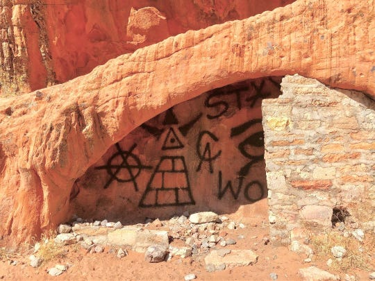 Vandalism at a shed at Gold Butte National Monument.