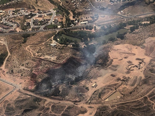 An overhead view of the 10-acre fire that burned part of La Verkin on Tuesday, Aug. 20, 2019.