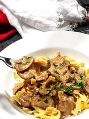 Mushroom Stroganoff uses Cremini mushrooms and white button mushrooms.