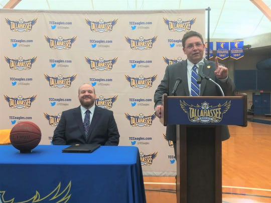 Tallahassee Community College athletics director Rob Chaney (right) give opening remarks during the press conference to introduce Matt Huddleston as the new women's basketball head coach on Tuesday, Aug. 20, 2019.