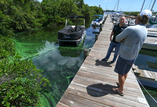 "Boat captain Rory Loveridge (right), of Indian River County, talks with boat owner Eric Devries, of Port St. Lucie, as they briefly discuss the algae seen pooling along the north dock of Harbortown Marina on Tuesday, Aug. 20, 2019, in Fort Pierce. ""I think it's not related to Lake Okeechobee and it's related to agriculture, and that was my point of putting it online, was to show the similarities, even though we don't have Lake O discharge,"" Loveridge said. ""That was my main focus on why I thought I should put the pictures on Facebook."" Devries stopped to talk with Loveridge after removing water from inside the hull of his boat and saw the algae. ""It's disappointing. It's not good for the environment. It's sad to see,"" Devries said."