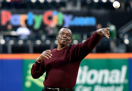 In this April 15, 2015, file photo, former New York Mets player Al Jackson, who pitched for the Mets from 1962-65, throws out the ceremonial first pitch before a baseball game against the Philadelphia Phillies at Citi Field in New York. Jackson, a tough left-hander who provided a rare glint of hope in the early days of the woebegone Mets,  died Monday, Aug. 19, 2019, at a nursing home in Port St. Lucie, Fla., after a long illness. He was 83.