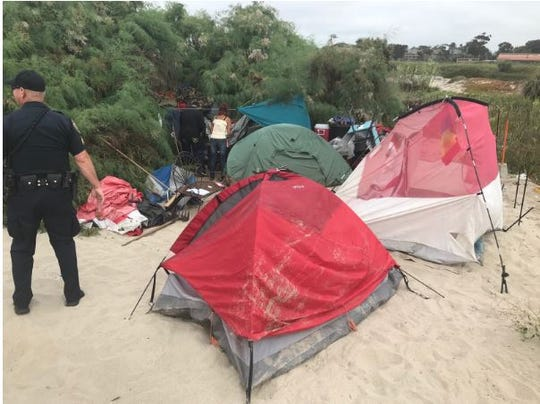 Oxnard and Port Hueneme police and other authorities say they are working to clear out prohibited campsites at Ormond Beach.