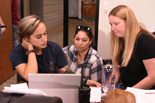 Sheriff's detectives Sofia Lira-Rangel, left, and Sara Olmos, right, along with Beatriz Nicholson, an investigator for the District Attorney's Office, collaborate during a human trafficking sting operation Saturday, Aug. 17, 2019.