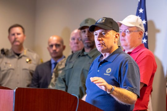U.S. Attorney McGregor Scott and other law enforcement leaders spoke Tuesday, August 20, 2019 at the Fresno Air National Guard Base about recent efforts targeting marijuana grows on public lands.
