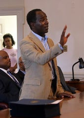 Mount Vernon Mayor Andre Wallace congratulates the twenty-six graduates from the Mount Vernon Youth Police Academy, a 10-day program designed to create a bond between cops and teenagers at City Hall Aug. 21, 2019.