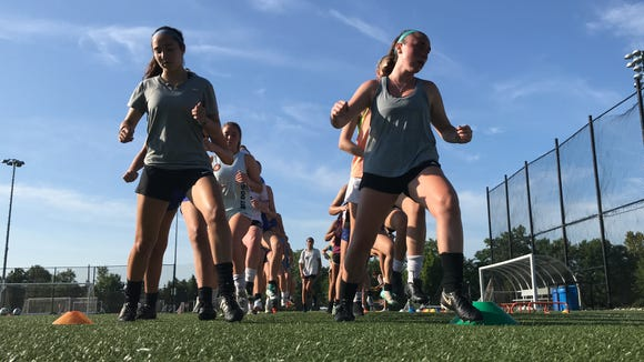 Pearl River girls soccer players run through a drill during preseason practice on Aug. 20, 2019.