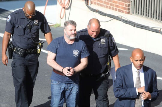 Plastic surgeon Dr. Matthew Bonanno, who is accused of criminal possession of a large cache of weapons after he was allegedly heard at a bar threatening to kill his estranged wife and family, arrives at Tuckahoe Village Court Aug. 20, 2019