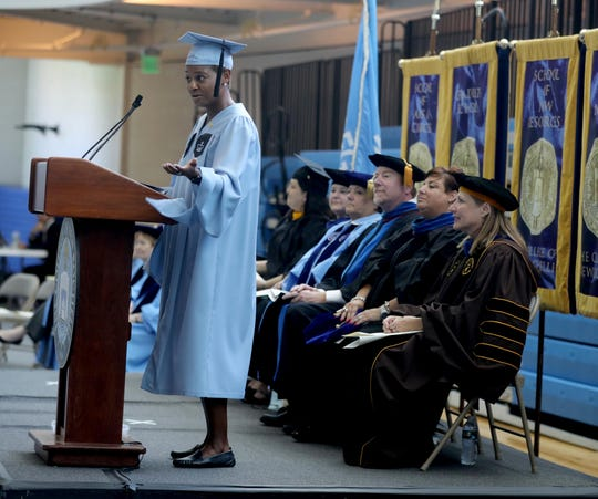 A scene from the College of New Rochelle's final graduation ceremony, Aug. 20, 2019.