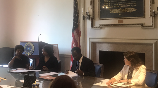Mount Vernon Board of Estimate and Contract meeting, Aug. 20, 2019. From right to left, acting Council President Janice Duarte, acting mayor Andre Wallace and Comptroller Deborah Reynolds