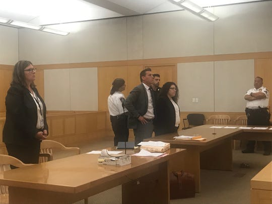 Assistant District Attorney Laura Murphy, left, defense lawyer Richard Portale and defendant Cynthia Arce in Westchester County Court on Aug. 20, 2019