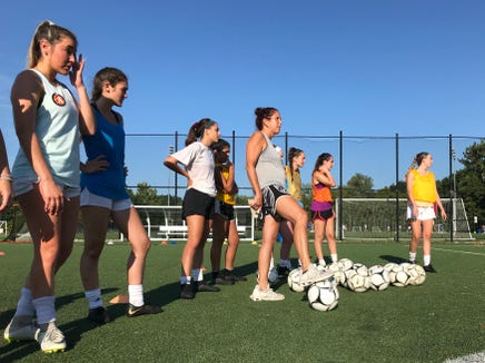 Pearl River girls soccer coach Diana Gullile looks on during a preseason practice on Aug. 20, 2019.
