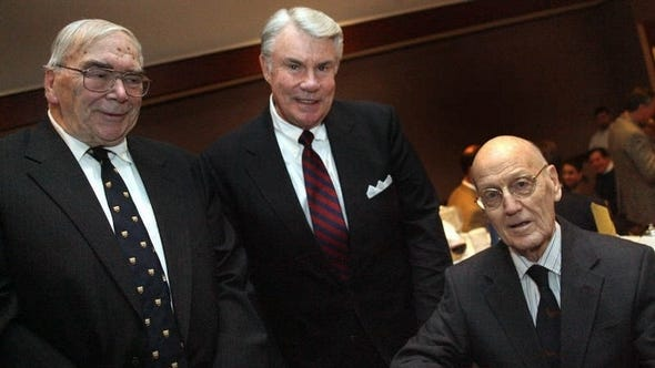 Jack Chevalier (left) with News Journal sports editor predecessors Hal Bodley (center) and Al Cartwright at a Delaware Sportswriters and Broadcasters Association banquet.