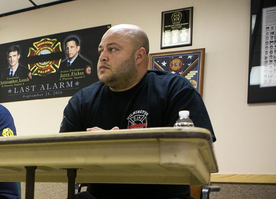 Gabriel M. Pabon, Jr., pictured in 2016 at the Local #1590 Memorial Hall for a press conference to voice concerns with the city resuming the practice of taking fire trucks out of service on a particular day to save on overtime costs.