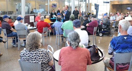 OKC VA health care systems director, Wade Vlosich answered questions during a resource fair held Tuesday morning at the Wichita Falls Regional Airport.