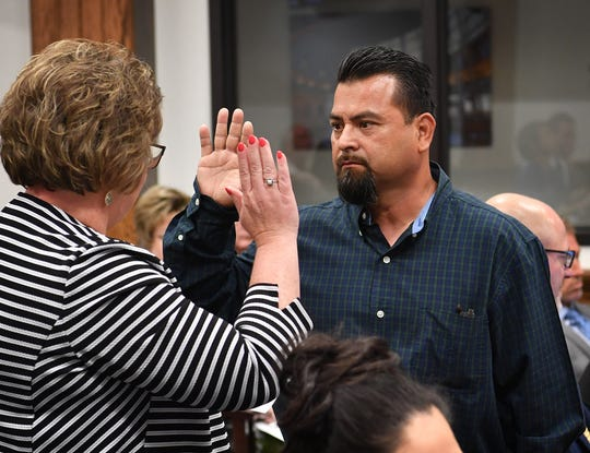 Downtown business owner Rueben Rodriguez is sworn in during the Wichita Falls City Council meeting Tuesday for his testimony in a hearing to consider a complaint against Councilor Steve Jackson for violation of the City Council Code of Ethics.
