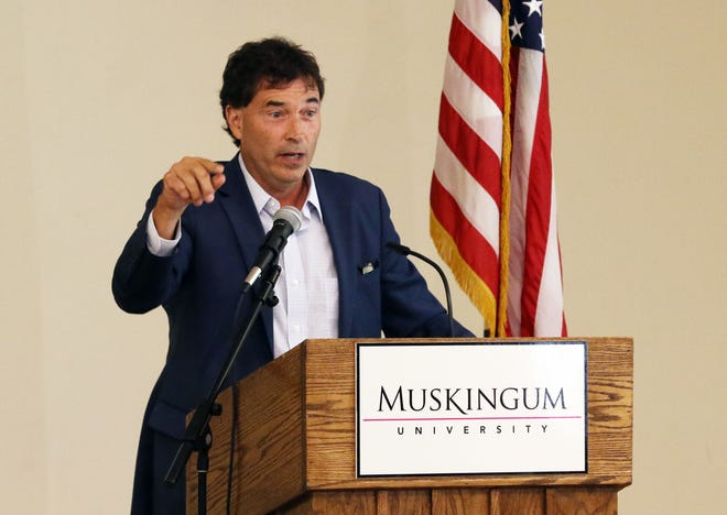 Congressman Troy Balderson (R-Zanesville) speaks to the Ohio Mid-East Governments Association at Muskingum University in New Concord on Tuesday.