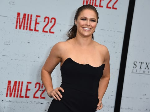 "Ronda Rousey arrives at the Los Angeles premiere of ""Mile 22"" on Thursday, Aug. 9, 2018, in Los Angeles."