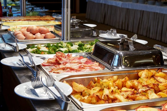 Nice buffet line in a hotel