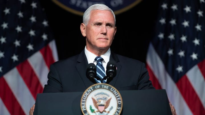 In this file photo taken on August 9, 2018 US Vice President Mike Pence speaks about the creation of a new branch of the military, Space Force, at the Pentagon in Washington, DC. (Photo by SAUL LOEB / AFP)