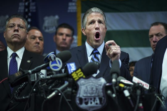 Pat Lynch, president of the NYC Police Benevolent Association, speaks during a press conference after the announcement of the termination of officer Daniel Pantaleo at PBA headquarters on August 19, 2019 in New York City.