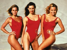 "Pamela Anderson, far right, with her ""Baywatch"" co-stars Nicole Eggert, far left, and Alexandra Paul in 1992."
