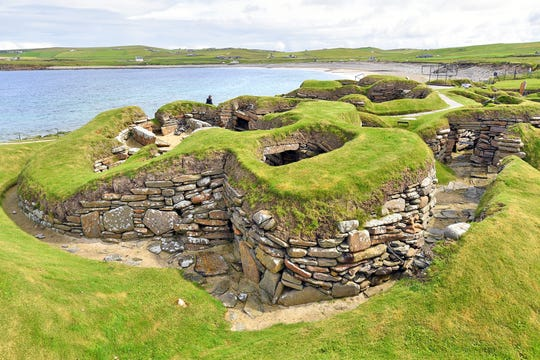 Ancient ruins on Scotland's Orkney Islands include these 5,000-year-old homes at Skara Brae.