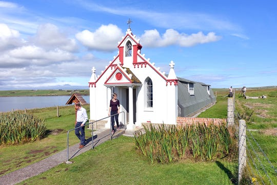 During World War II, Italian POWs housed on the Orkney Islands created a chapel from two army huts, decorating it with a Neo-Baroque facade.