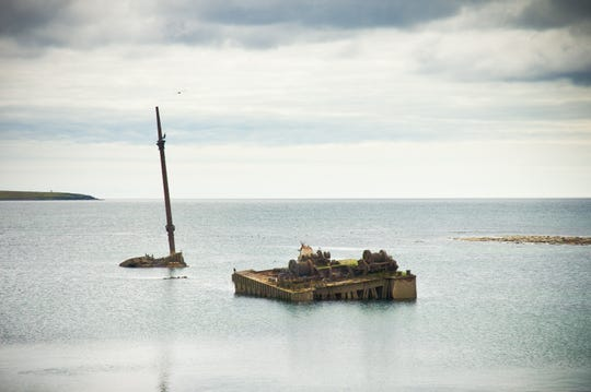 One of the sunken boats that can still be seen in Scapa Flow, a natural harbor used by Britain during World War I.