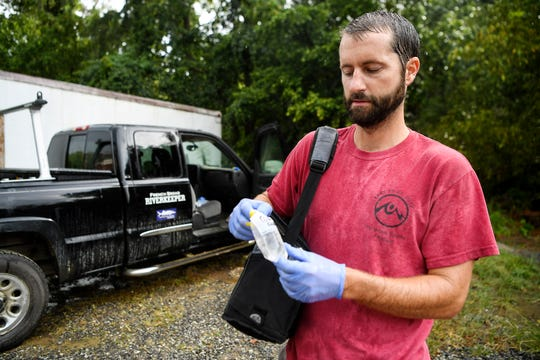 "French Broad Riverkeeper Hartwell Carson discovered a ""massive"" sewage spill in Reed Creek August 21, 2019. Local environmental nonprofit MountainTrue considers an E. coli reading of over 235 cfu a cause for concern. Carson's samples of grey Reed Creek water contained over 120,000 cfu."