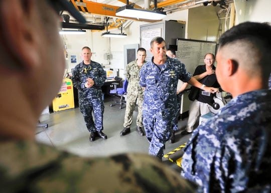 In this 2017 photo, Rear Adm. Stephen Williamson, then the director of fleet maintenance for the Navy's Pacific Fleet, tours submarine tenders in Guam. Williamson, who also commanded the Puget Sound Naval Shipyard, was relieved of his duties Aug. 2 based on an investigation that found he had a consensual but inappropriate relationship.