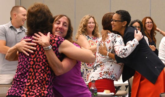 Hugs were on the menu at the Health First 2019 Mayors' Fitness Challenge celebration breakfast at the Space Coast Health Foundation Center for Collaboration and United Way of Brevard in Rockledge. Mayors and other community leaders attended, with keynote speaker Stephon Williams of HABU Leadership Development Training stressing healthy minds, bodies and communities.