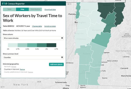 This map shows the percentage of people in each Vermont county who travel more than 90 minutes to work, using American Community Survey data for 2013-2017.