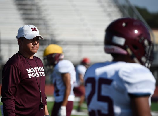 Mathis High School hosts a football practice, Tuesday, Aug. 20, 2019.