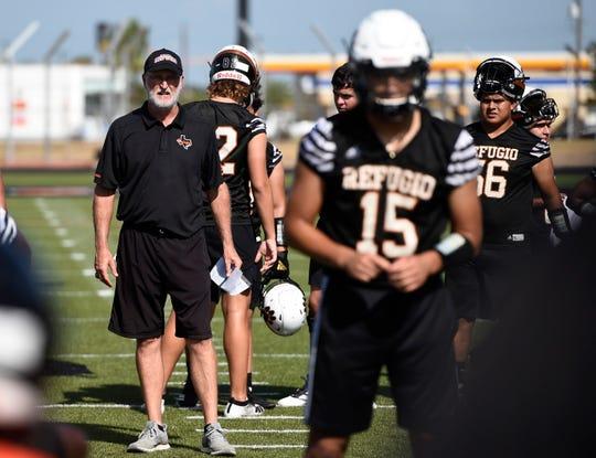 Refugio High School hosts a football practice, Wednesday, Aug. 21, 2019.