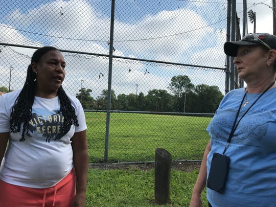Simone Isley (left) and Wren Ingram talk about changes in Fairview and discuss their hopes for the historic Camden neighborhood.