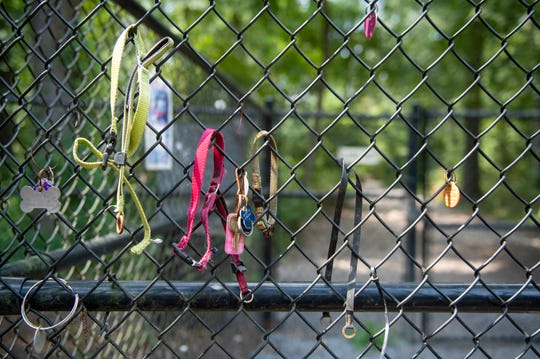 Lost dog collars hang from a fence inside the Timber Creek Dog Park Tuesday, Aug. 20, 2019 in Blackwood, N.J.