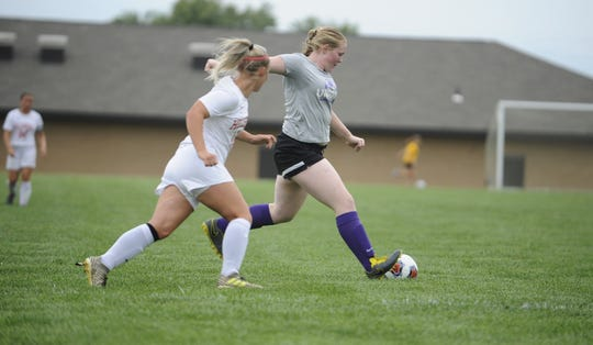 Unioto's Avery Miller looks to kick the ball in a 6-1 win over Hillsboro on Aug. 20, 2019 at Unioto High School.