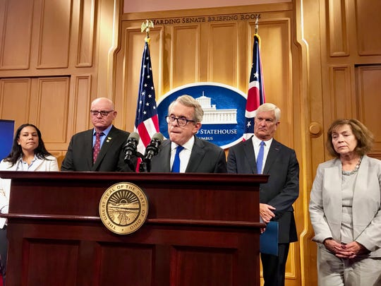 Ohio Gov. Mike DeWine announces a new Ohio School Safety Center that will work to prevent school shootings.
