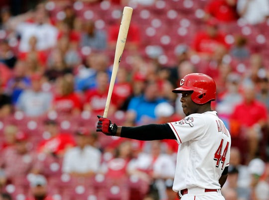 Cincinnati Reds right fielder Aristides Aquino (44) steps to the plate in the first inning of the MLB National League game between the Cincinnati Reds and the San Diego Padres at Great American Ball Park in downtown Cincinnati on Tuesday, Aug. 20, 2019.