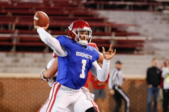 Apr 12, 2019; Norman, OK, USA; Oklahoma Sooners quarterback Jalen Hurts (1) passes the ball during the Oklahoma Spring Football game at Gaylord Family Oklahoma Memorial Stadium.