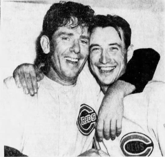 Paul Derringer and Bucky Walters celebrate the Cincinnati Reds winning the 1939 National League pennant.